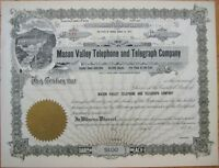 'Mason Valley Telephone & Telegraph Company' 1920 Stock Certificate - Nevada NV