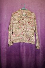 ⚜Woman's Printed Button Jacket by Christopher & Banks size M~Tan/pink floral