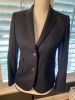 NWT J Crew Schoolboy Navy Blue Blazer Size 2P Womens Gold Buttons