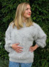 "Ladies Girls Grey Soft Fluffy Fuzzy Angora Sweater>M>38"">Classy Chic Knit>£21:99"
