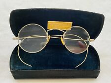 Antique Silver Tone / White Metal ROUND Lennon Look Eyeglasses with Case