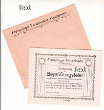 1919 Feuerwehr Heidenau / Einladungskarte mit Kuvert ( ORIGINALAUSGABE )