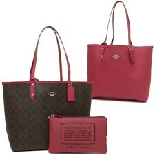NWT Coach F36658 Signature Reversible PVC City Tote Bag in Brown Hot Pink $350