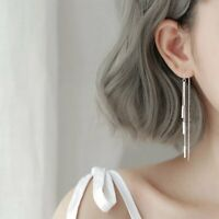 Fashion 925 Silver Long Tassel Earrings Ear Line Drop Dangle Women Jewelry Gift