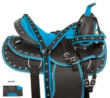ARABIAN 14 15 17 SYNTHETIC BLUE WESTERN PLEASURE TRAIL HORSE SADDLE TACK SET