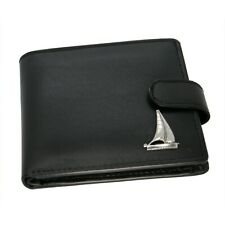 Genuine Black Leather Wallet with a Pewter Sailing Yacht Emblem