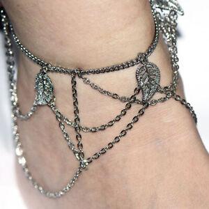 "Barefoot Sandals Foot Jewelry Ankle Bracelet 10"" Leaf Charm Silver Women Summer"