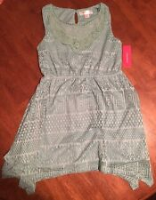 Girls' Sleeveless Crochet Dress Xhilaration Green M 7/8