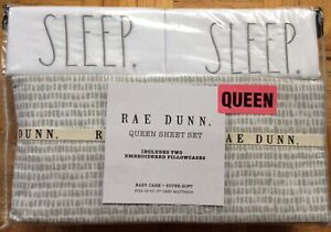 Rae Dunn Embroidered SLEEP Queen Sheet Set Gray White Bed Linens NEW