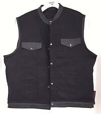 Men  Denim Club Vest Black w/ LEATHER TRIMS Gun Pocket, Snap/ Zipper Front 4XL