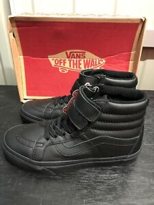 Vans Sk8 Hi Reissue V Mono Leather - Black - Uk Size 3 - Brand New In Box