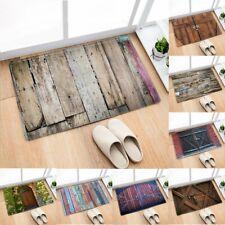 Old Wooden Flannel Anti-Slip Rug Kitchen Bath Bathroom Shower Floor Door Mat