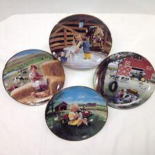 John Deere Collector Plate Tractor Farm Country Set of 4 Vtg Danbury Min