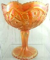 Vintage Imperial Carnival Glass Compote Marigold Color Fruit Candy Bowl