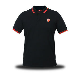 Official Genuine Ducati Logo Motorcycle Superbike SBK Black Men Polo Tee T-Shirt