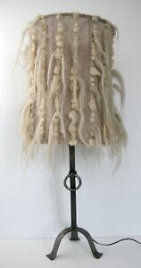 IMPORTANTE LAMPE VINTAGE BRUTALISTE 1970 ANNEAU ACIER LAINE ET COTON 70s 1970s