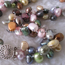 "18"" 7-8mm 2 Row Multi Color Baroque Freshwater Pearl Necklace Strands Jewelry"