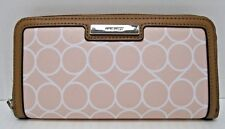 Nine West NWT $40 Wallet Pink White Brown Table Treasures Zip Around Geo Print X