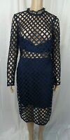 Missguided Lace High Neck Cut Out Long Sleeve Midi Dress Navy UK 14 VR183 02
