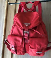 Authentic PRADA Nylon Leather backpack Red