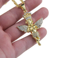 "Men's Hip Hop Gold Plated Crystal Bling Baby Angel Pendant 27.5"" Chain Necklace"
