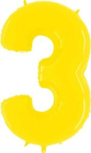"""GRABO- BRIGHT YELLOW NUMBER 3 FOIL BALLOON - 40"""" LARGE NUMBER - HELIUM QUALITY"""