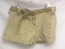 Theory Cotton/ Linen Tan Cargo Belted Short Size 12 Euc