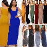 Womens Long Maxi Dress Ladies Stretch Body-con Sleeveless Casual Racer Back Vest
