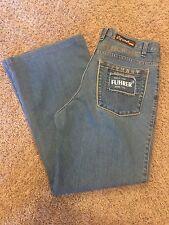 Mens VGUC FÜHRER 34/28 Blue Classic Rise Boot Cut 100% Algodon Jeans