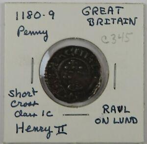 C345 England, AR Penny of Henry II, 1180-9, Short Cross Class 1c, Raul on Lund D