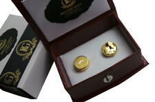 Personalised Gold Cufflinks Shirt Button Covers Engraved Best Man Groom Dad