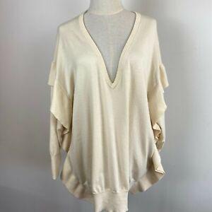 Zara Knit Womens Cream Ruffle V Neck 3/4 Sleeve Pullover Jumper Size L A12