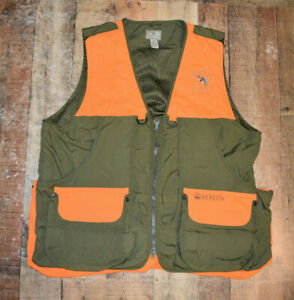 Men's Beretta Nylon Shooting Vest Size 2XL Green Orange Magnetic Pockets B71