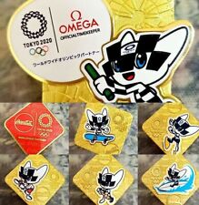 Collection of 6 New Coca cola Tokyo 2020 olympic pins + 1 Omega