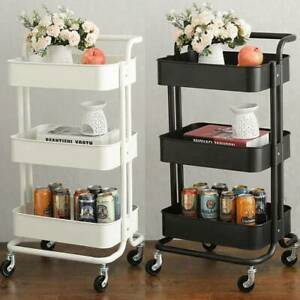 3 Tier Kitchen Trolley Cart Storage Rack Tray Shelf Rolling Wheel With Handle