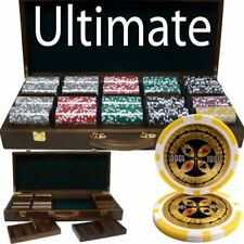 500ct. Ultimate 14g Poker Chip Set in Black Aluminum Red Trim Carry Case