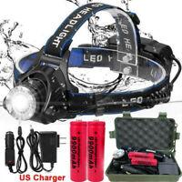 250000LM Headlamp Rechargeable LED Headlight 18650 Flashlight Head Torch