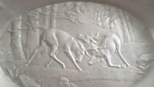 Vintage Aluminum Bowl with Rutting Deer Fighting Bucks Deer