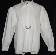 """Hammerschmid White Lace Blouse German Button Down Shirt Elegant/Bust 43""""/16 L"""