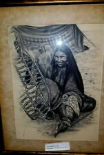 Antique, Saudi Bedouin Lady, Charcoal Drawing