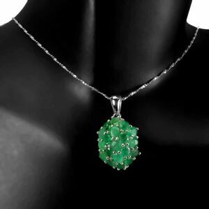 Pendant Green Emerald Genuine Natural Gems Sterling Silver 18 Inch Silver Chain