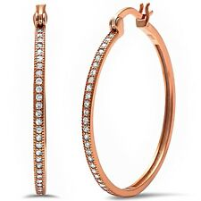 Rose Gold Plated Round Pave Cz Hoop .925 Sterling Silver Earrings