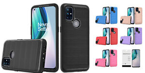 For OnePlus Nord N10 5G BE2029 Slim Lining Hybrid Case Cover + Tempered Glass