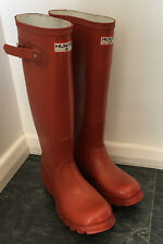 HUNTER MADE IN SCOTLAND RED TALL WELLINGTON UK 4 Euro 37 BOOT