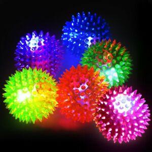 4 x Flashing LED Light Up Spikey Balls - Sensory Autism Massage Yoga Stress