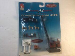 Life-Like #1322 HO Scale Scene Master Construction Site Crane Truck Figures NR!