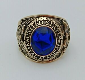US Military Academy NAVAL Rings 1956 USNA  , Sapphire , Gold 10k size 10