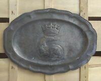 Plat ovale en etain,Salamandre,Francois 1, Poincons,XVIIIs, French dish of tin.