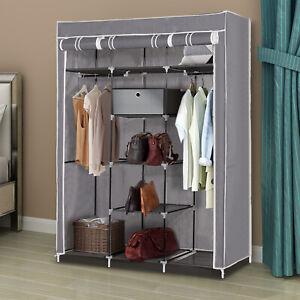 Large Grey Canvas Wardrobe Foldable Clothes Cupboard Storage Organiser Shelving