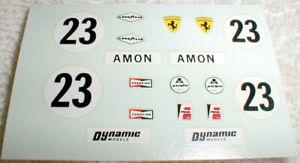 Ferrari Slot Car Racing Decals Vintage 1/24 Water Slide Dynamic Models NOS